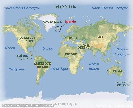 carte islande dans le monde - Image